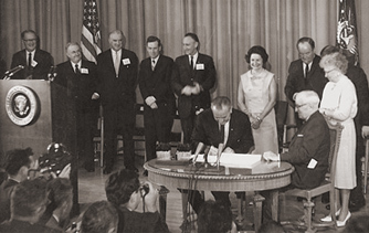 Signing of the Medicare bill by Harry S. Truman in Independence, Mo.