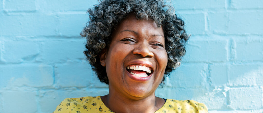 African American middle-aged woman smiling