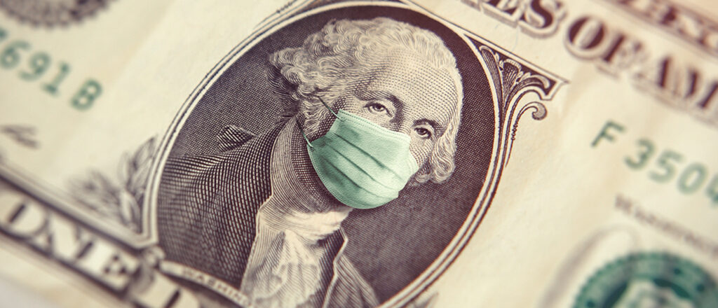 Detailed close-up of a dollar bill with George Washington wearing a surgical mask
